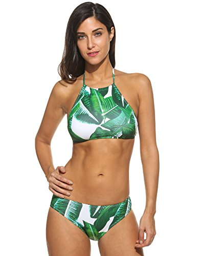 Ekouaer Womens Forest Leaves Printing High Neck Halter Bikini Set Swimsuit (Army Green, M)