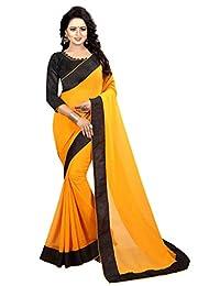 Shonaya Women`S Yellow Colour Chiffon Lace Border Saree with Unstitched Blouse Piece