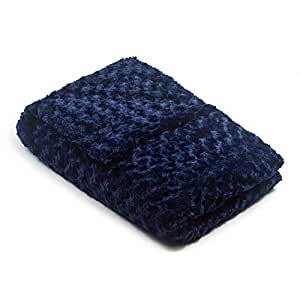 42x60 12lb Navy Chenille Magic Blanket - The Blanket That Hugs You Back   World's 1st Weighted Blanket  Molds to Body Increasing Serotonin Great for Anxiety & Insomnia  Made in USA