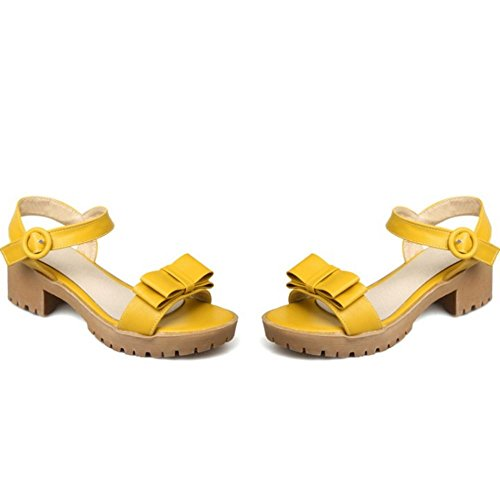 COOLCEPT Mujer Moda Correa de Tobillo Sandalias Tacon Ancho Punta Abierta Slingback Zapatos con Bowknot Tamano Amarillo