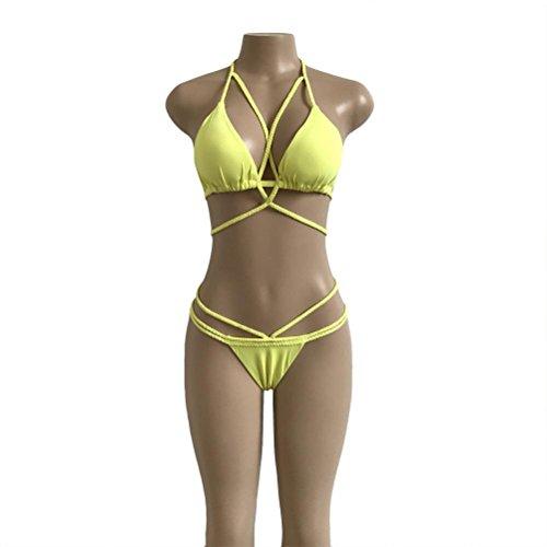 HARRYSTORE 2017 Caliente de la moda de impresión de las mujeres Push-Up acolchado Bra Beach Bikini Set traje de baño Swimsuit Atractivo Amarillo