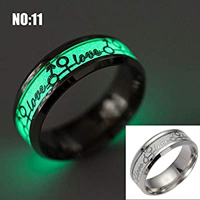 14 Kinds The Lord of Luminous Fluorescent Glowing Skeleton Engagement Wedding Ring Men Stainless Steel Finger Rings for Women (Love) (8)