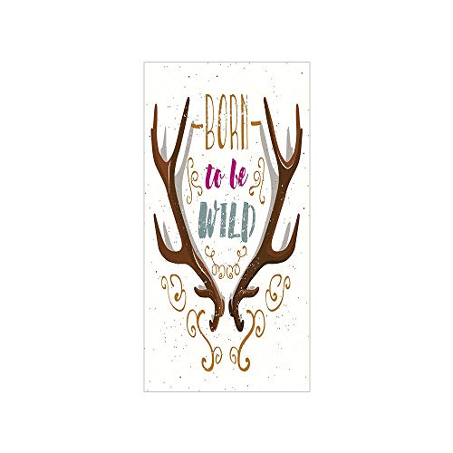 3D Decorative Film Privacy Window Film No Glue,Antler Decor,Colorful Born to Be Wild Slogan Cartoon Style Vivid Horns and Floral Elements Decorative,Multicolor,for Home&Office