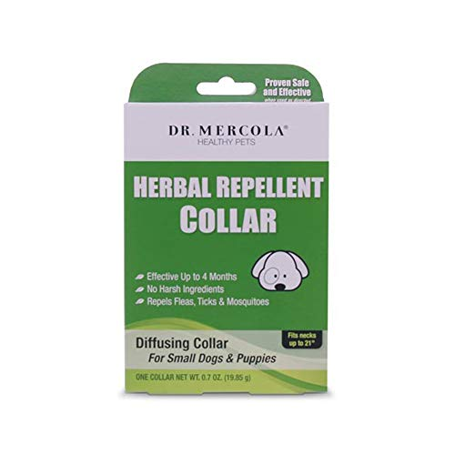 Dr. Mercola Herbal Repellent Collar for Small Dogs & Puppies with Natural Active Ingredients, Long-Lasting Flea Prevention Up to 4 Months - Odorless, Safe and Waterproof Flea Collars, Necks up to 21