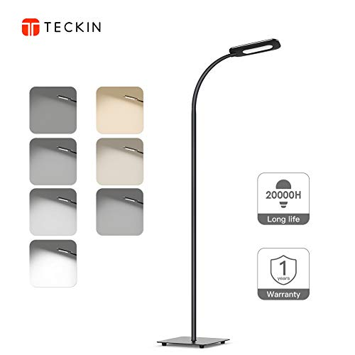 Floor Lamp, LED Floor Light, TECKIN Reading Standing Lamp Dimmable for Living Room Bedroom, Long Lifespan High Lumens Touch Control Floor Light, 3 Color Temperatures, 4 Level Brightness ()