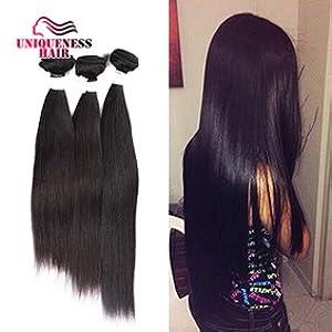 Uniqueness Hair Peruvian Straight Hair 3 Bundles 8a Grade Human Hair 1b 8