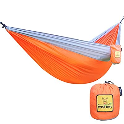 The Ultimate Single & Double Camping Hammocks- The Best Quality Camp Gear For Backpacking Camping Survival & Travel- Portable Lightweight Parachute Nylon Ropes and Carabiners Included! from Wise Owl Outfitters