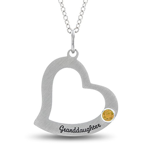 Esty & Me Stainless Steel Granddaughter Heart Pendant with Personalized Simulated Birthstone, November (Steel Satin Luster)