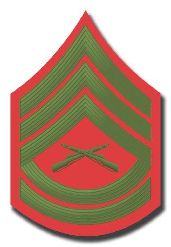 (US Marine E-7 Gunnery Sergeant Red/Green Chevron Rank Insignia Decal Sticker 3.8