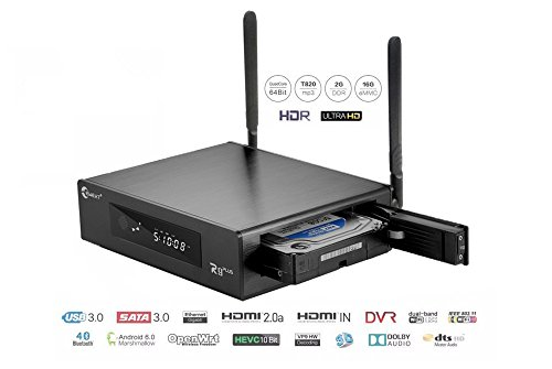 Eweat R9Plus 3D 4K UHD Blu-ray Android Quad Core Smart H.265 HD TV Media Player with HDD Bay, WiFi, Dolby 7.1, Gigabit LAN, 2GB RAM, 16GB Storage, 4 Core CPU, 8 Core GPU