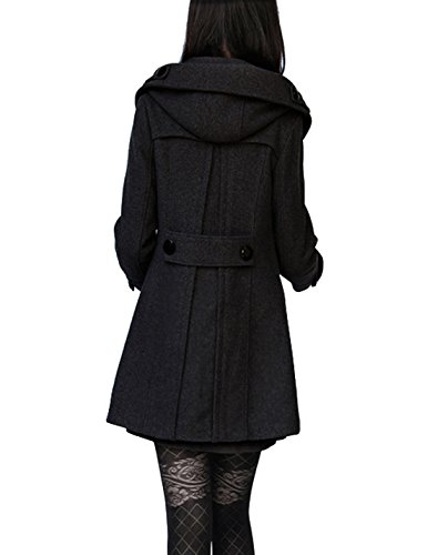 Tanming Women's Winter Double Breasted Wool Blend Long Pea Coat with Hood (Large, Black Cotton) by Tanming (Image #1)