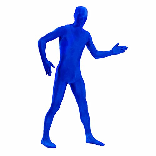 [DH Men's Lycra Spandex Full Body Costume Zentai Suit (M Blue)] (Spandex Suits)