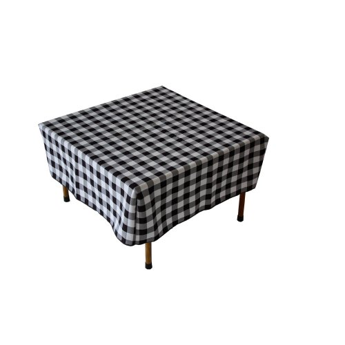 Table in a Bag TC2828BW Square Polyester Gingham Tablecloth, 28-inch by 28-inch, Black and White Checkered Pattern (Pattern Checkered Black)