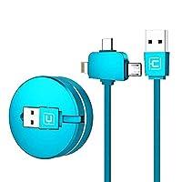 CAFELE Lightning+Micro USB+Type-C ライトニングケーブル USB Type-Cケーブル3in1 ケーブル 巻き取り式 長さ1m 五段階調節 コンパクト 高速データ転送 に適用するiOS &Android 携帯電話/タタブレットPC/Apple iPhone / iPad 対応 データ転送ケーブル (3in1 Lightning+Micro+Type-c 1m, ブルー)
