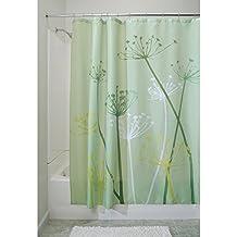 InterDesign Thistle Fabric Shower Curtain, 72 x 72-Inch, Green