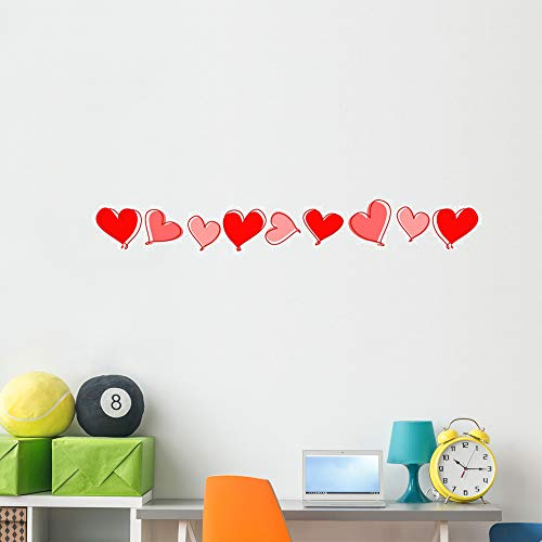 Wallmonkeys Hearts Line Divider Wall Mural Peel and Stick Vinyl Graphic (60 in W x 14 in H) WM525209