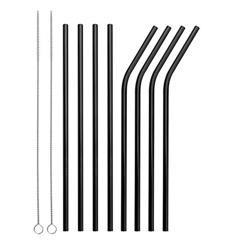 Reusable Stainless Steel Straws Set of 8 Black Metal Straight Bent Drinking Straws with Cleaning Brush for Cups Mugs Tumblers Ramblers by BERTERI (Image #1)
