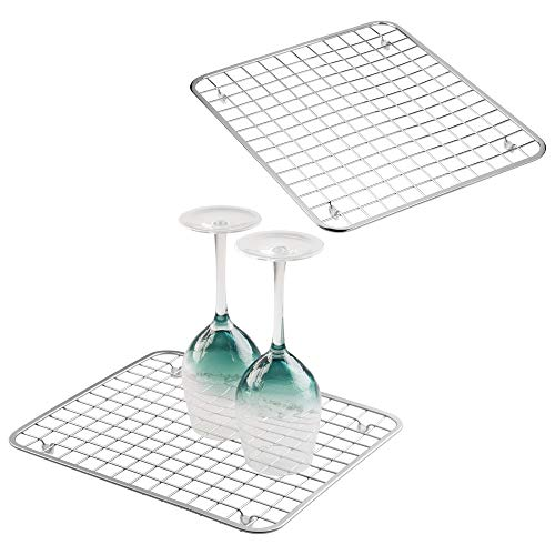 mDesign Modern Metal Wire Kitchen Sink Metal Dish Drying Rack/Mat - Steel Wire Grid Design - Allows Wine Glasses, Mugs, Bowls and Dishes to Drain in Sink - 2 Pack - Chrome (Bowl Grid Steel)