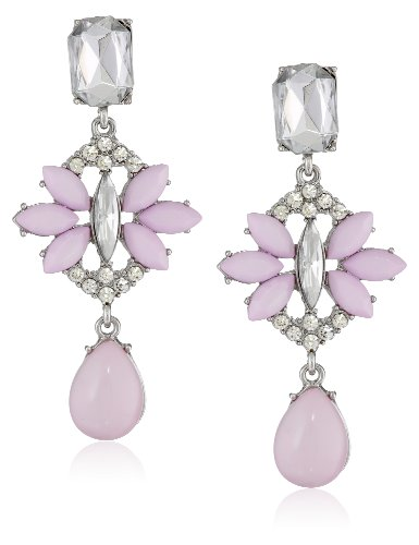 Clear and Opaque Lavender Beaded Drop Earrings, 2.5