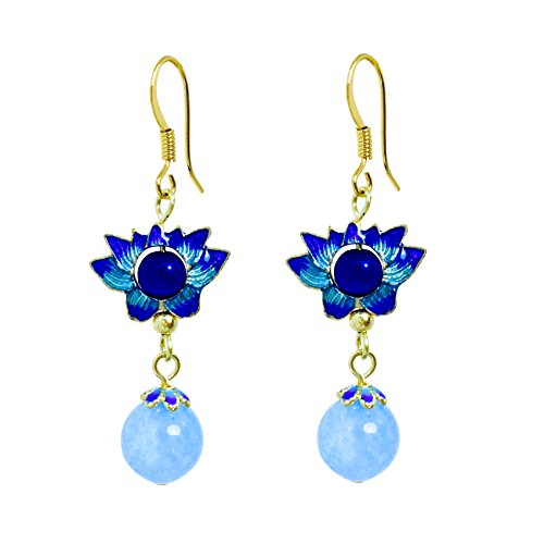 (Peacock Blue Cloisonné Enamel Boho Unique Earrings Lotus Flower Unique Dangling Drop Earrings With Dangling Chalcedony Beads Perfect Gift for Women EASY GIFTING (With Card/Envelope))