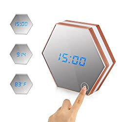 Multifuctional Digital Electronic Alarm Clock with Flat Mirror NetBoat Included 3 Function Mode Touch LED Night Light with USB Rechargeable, Great Home Decoration (champagne)
