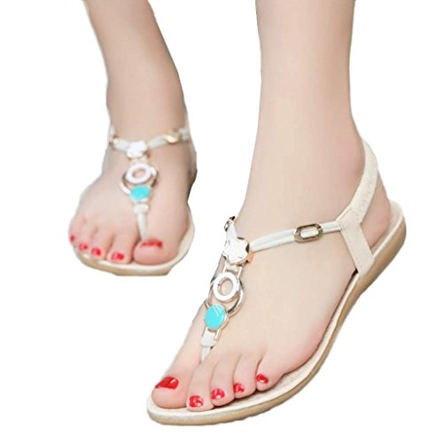 AMA(TM) Women Casual Clip Toe Sandals Bohemia Sweet Beaded Sandals Beach Shoes Beige Xi8kbPJ