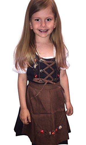 Dirndl World Childrens Dik04, German Bavarian 3 Piece Children Dirndls Dress for Oktoberfest, Blouse, Apron, Size 5 by Dirndl World