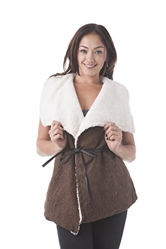 Sleeveless Faux Fur Lining Draped Collar Belted Tweed Vest (Large, Brown) (Belted Tweed)