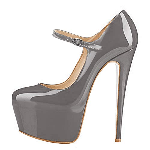 Onlymaker Womens Mary Jane Ankle Strap Platform High Heels Stiletto Pumps Party Dress Shoes Faux Patent Leather Gray US 6
