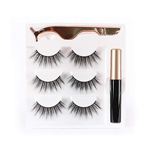 Newcally False Eyelashes Kit Natural False lashes 3 Pairs with Glue and Applicator
