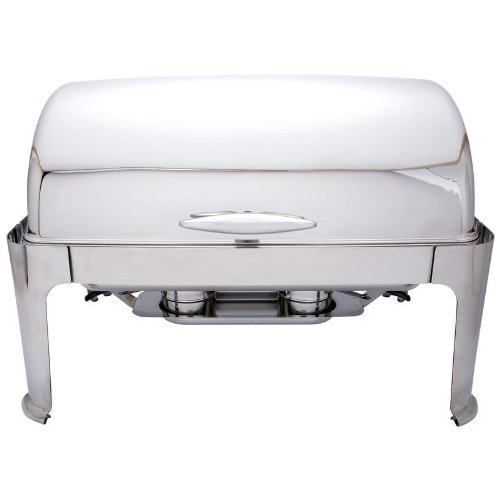 Maxam Heavy-Duty Stainless Steel Rectangular Chafing Dish with Roll Top for Professional Use