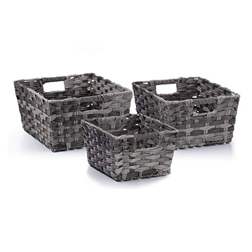 Seville Classics WEB498 Nesting Woven Rectangular Shelf Storage Basket Assortment (3-Piece Set) Granite Gray