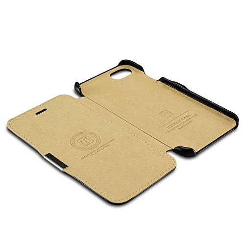 iPhone 7 Funda Piel [iCareR Original] Flip Case Cover con Cierre Magnético Cuero Liso Estilo Libro Negro Naranja