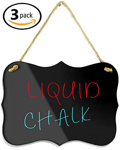 "3 - Hanging Acrylic Chalkboard Signs 4x6"" - Double Sided for Standard Chalk & other side for Liquid Chalk Marker- Memo Message Sign - Mini Blackboard - For Crafts - Menus - Florists - Events supplier"
