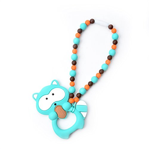 Nummy Beads Turquoise Raccoon Teether Toy Attaches To Baby Carrier, Car Seat, High Chair, Stroller or Diaper Bag