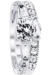 925 Sterling Silver Cubic Zirconia Round Solitaire Engagement Ring Wedding Band Set
