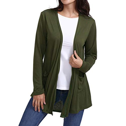 iYBUIA Fall Cotton Women Loose Casual Long Sleeved Open Front Breathable Cardigans with Pocket(Green,S) ()