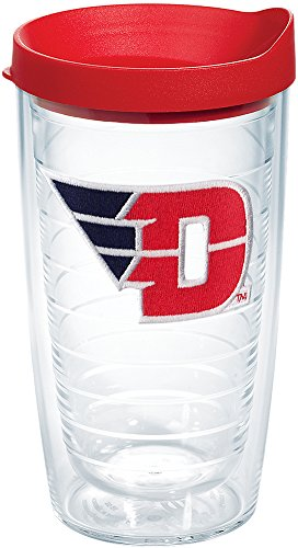 Tervis 1173362 Dayton Flyers Logo Tumbler with Emblem and Red Lid 16oz, Clear