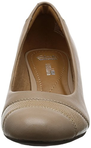 Clarks Ladies Wedge Heeled Shoes - Brielle Tacha Sand Leather cvll10o