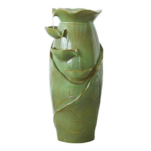 Water Fountain – Ceramic Vines Water Jug Garden Decor Fountain – Outdoor Water Feature