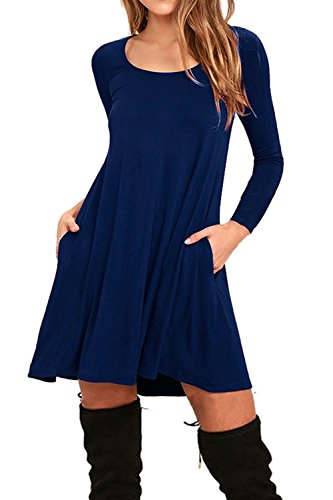 Dress Long Tunic Sleeve (AUSELILY Women's Casual Plain Simple Flowy Tunic Dress with Pockets (M,Navy Blue))