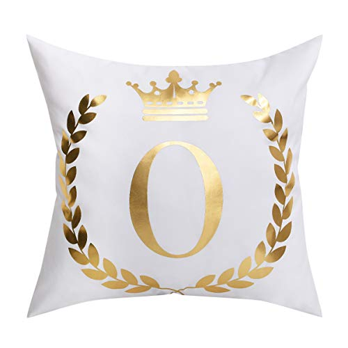 BLEUM CADE Bronzing O Letter Throw Pillow Cover Cushion Case Decorative Pillowcase for Home Sofa Bed Car (White and Golden, 18 × 18 Inch) ()