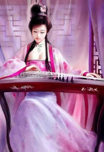 Beautiful Chinese Girl Playing Guzheng