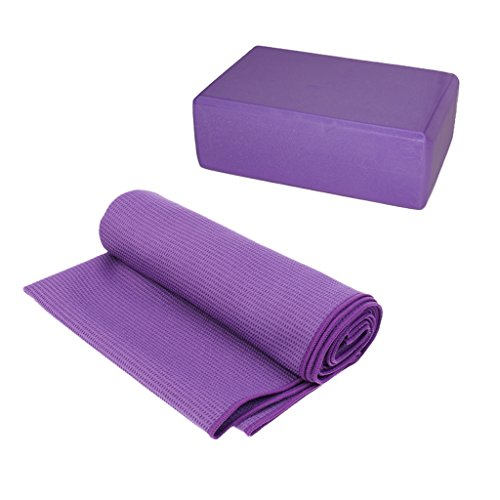 SunniMix Sport Travel Fitness Exercise Yoga Mat Cover Towel Blanket + EVA Yoga Block 22.6 x 14 x 7.9cm by SunniMix