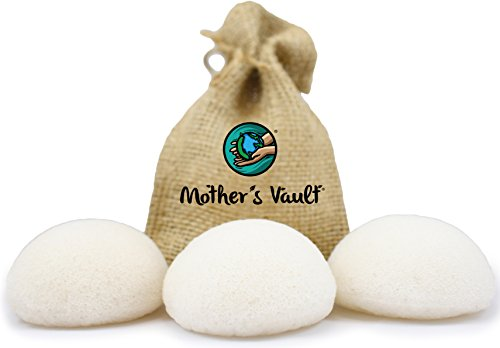 Organic Exfoliating Original Premium Konjac Sponges By Mother's Vault – All Natural Beauty Supply Prevents Breakouts While Exfoliating & Toning for a Better Complexion + Charity - Product Donations