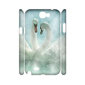 3D Jumphigh Swan in the Water Samsung Galaxy Note 2 Case, [White]