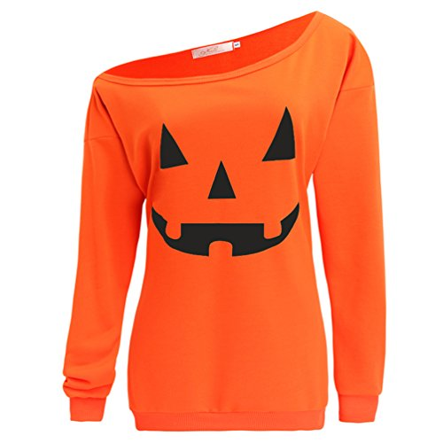 lymanchi Women Slouchy Shirts Halloween Pumpkin Long Sleeve Pullover Sweatshirts Orange M