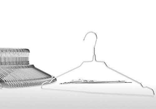 famyShop Quality Stainless Steel Metal Wire Clothes Hangers with notches, Space Saving, EXTRA STRONG, 16