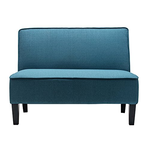 Changjie Cushioned Linen Armless Settee Loveseat Sofa Couch Home Casual Living Room Recliner (Blue)