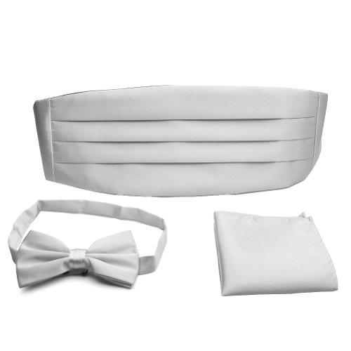 PenSee Formal Silver Pre-tied Bow Tie & Pocket Square & Cummerbund Set (Silver Cummerbund)